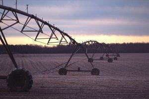 Irrigation rig at dusk