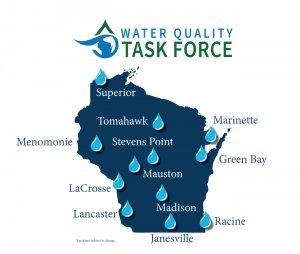 Infographic of Water Quality Task Force Hearing Locations